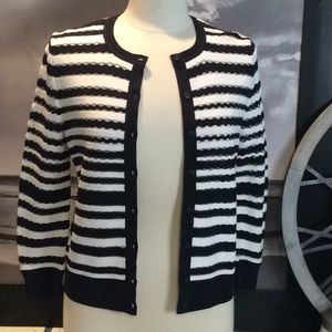 Ann Taylor Black and White Striped Cardigan.
